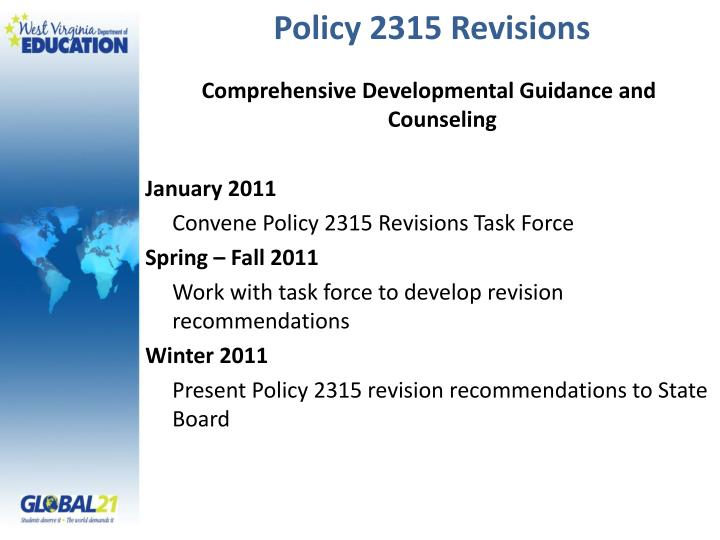 Policy 2315 Revisions