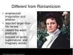 different from romanticism