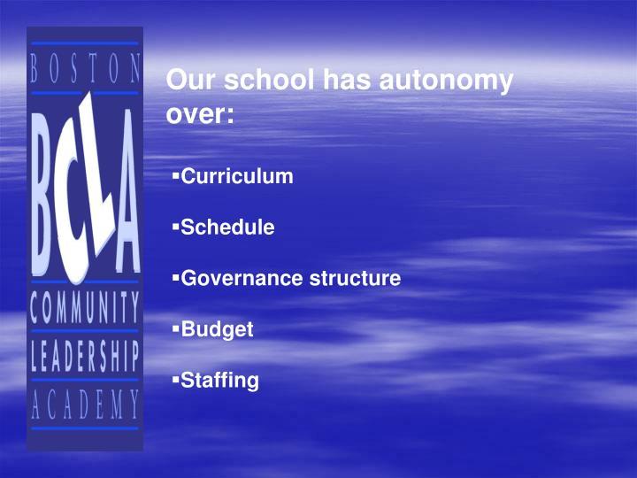 Our school has autonomy over: