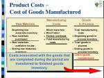 product costs cost of goods manufactured