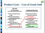 product costs cost of goods sold
