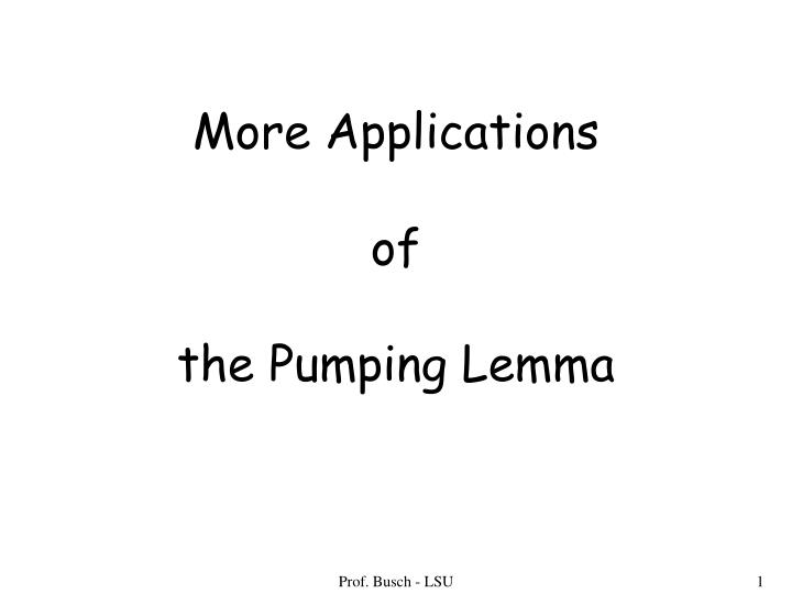 more applications of the pumping lemma n.