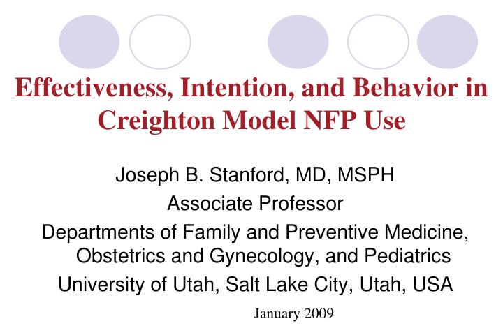 effectiveness intention and behavior in creighton model nfp use n.
