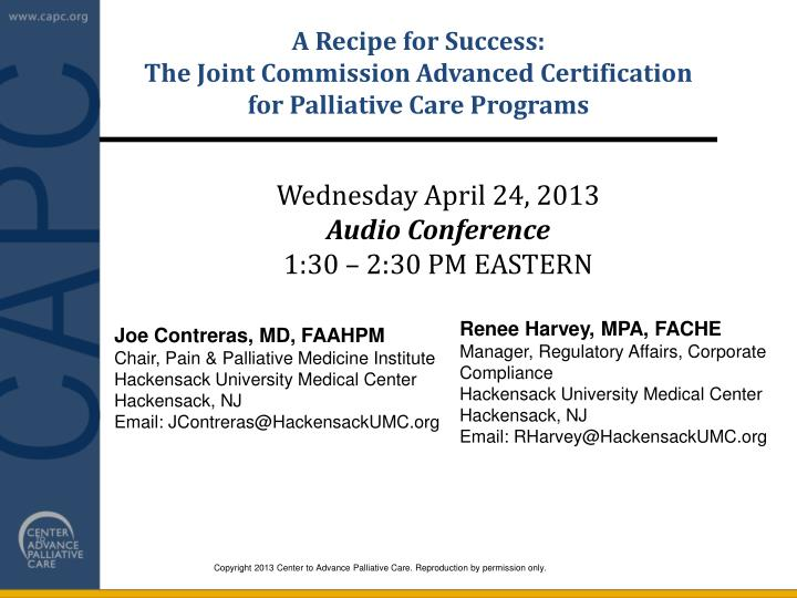 PPT - A Recipe for Success: The Joint Commission Advanced ...