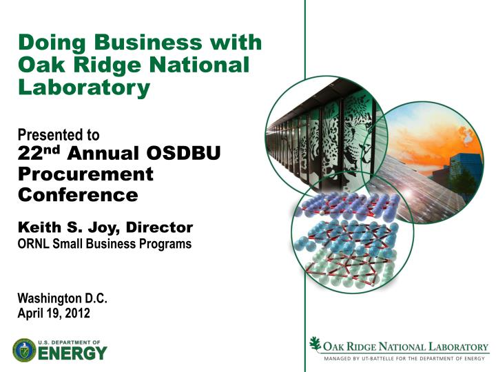 doing business with oak ridge national laboratory n.