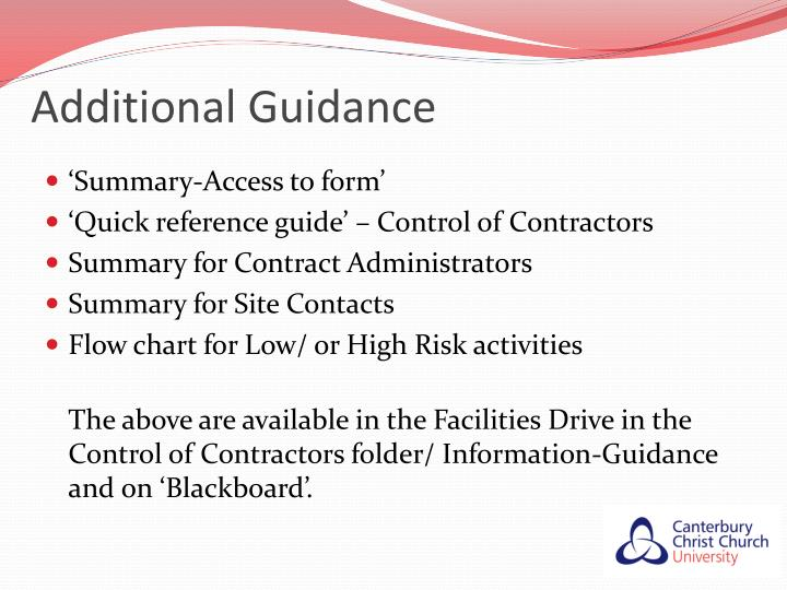 Additional Guidance