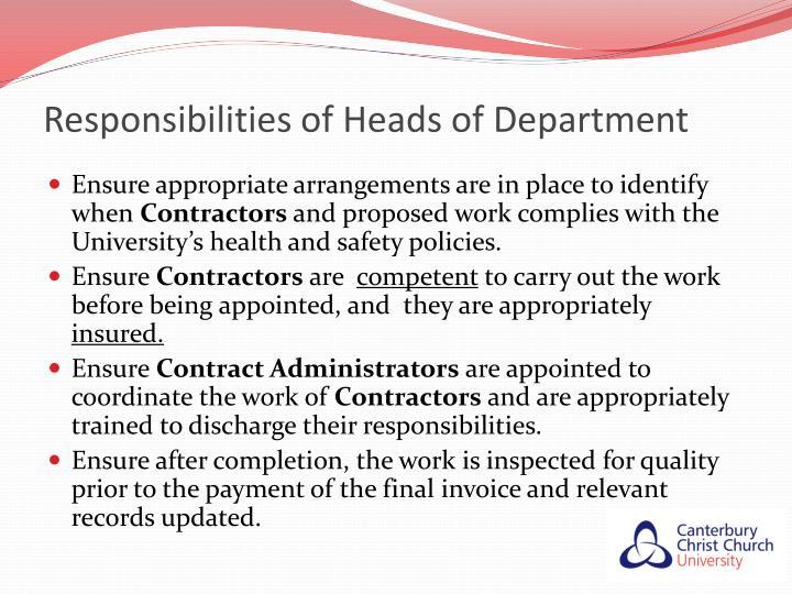 Responsibilities of Heads of Department