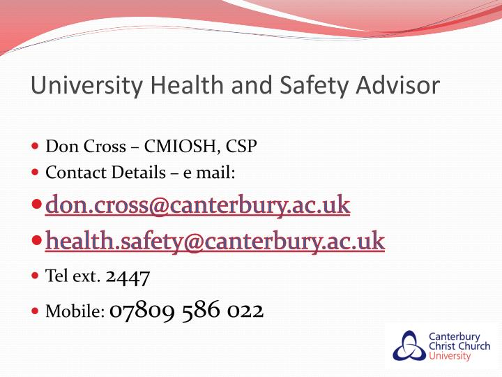 University health and safety advisor
