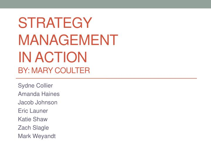 strategy management in action by mary coulter n.