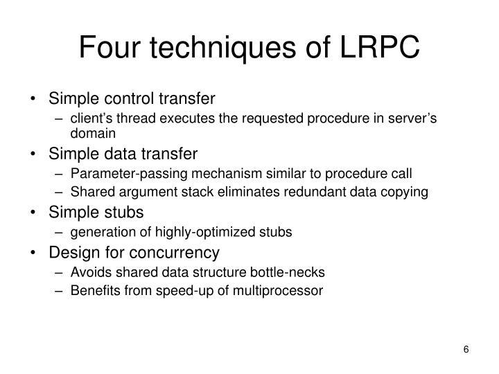 Four techniques of LRPC