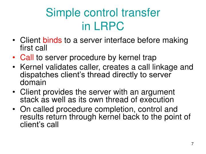 Simple control transfer