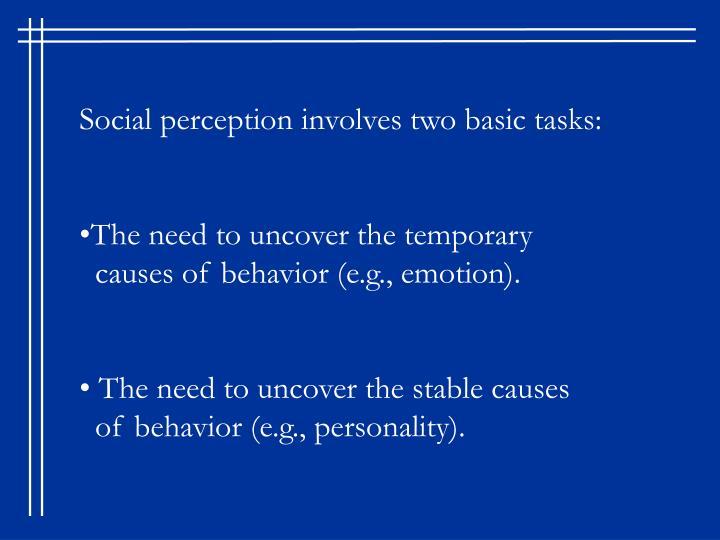 Social perception involves two basic tasks: