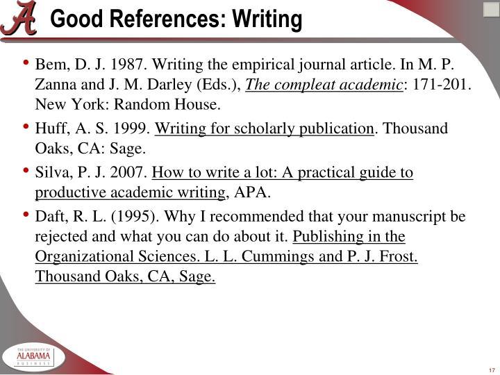 Good References: Writing