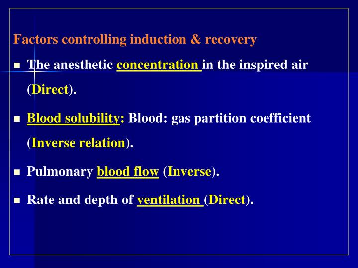 Factors controlling induction & recovery