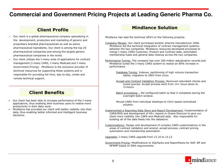 Commercial and government pricing projects at leading generic pharma co
