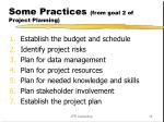 some practices from goal 2 of project planning