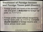 treatment of foreign income and foreign taxes paid contd