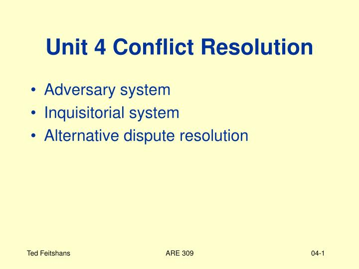 unit 4 conflict resolution n.