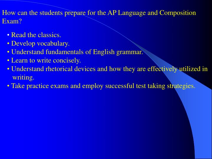 How can the students prepare for the AP Language and Composition