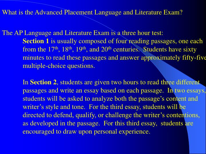 What is the Advanced Placement Language and Literature Exam?