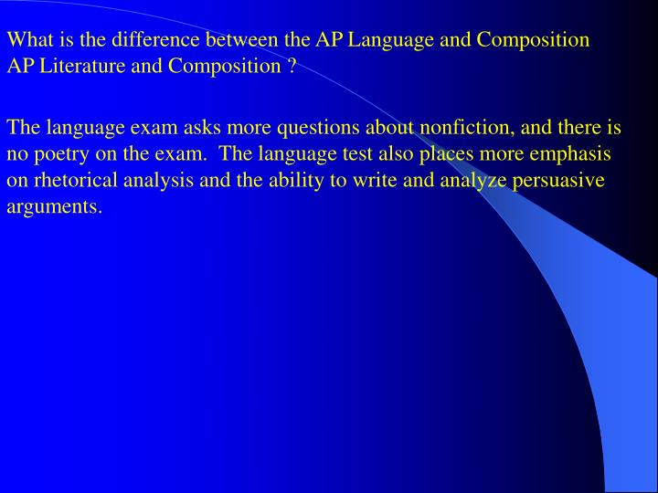 What is the difference between the AP Language and Composition