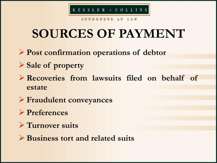 SOURCES OF PAYMENT