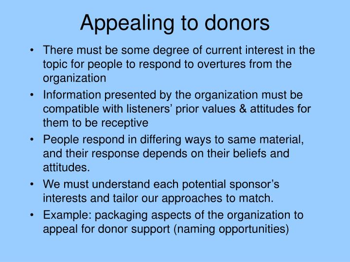Appealing to donors