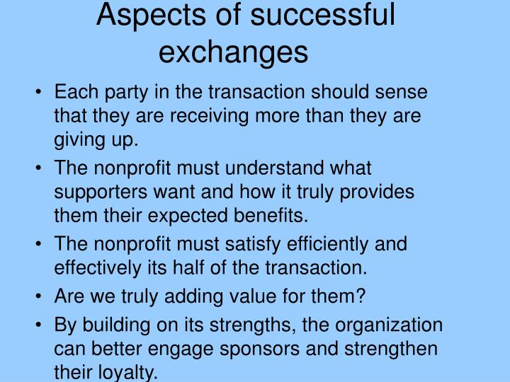 Aspects of successful exchanges