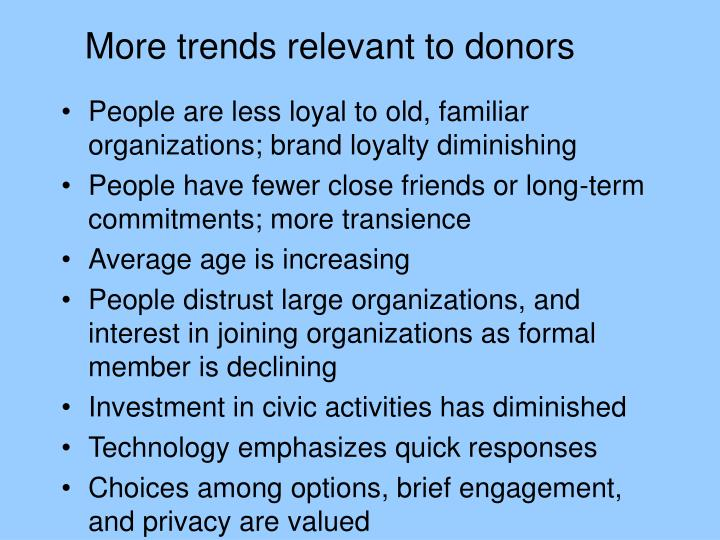 More trends relevant to donors