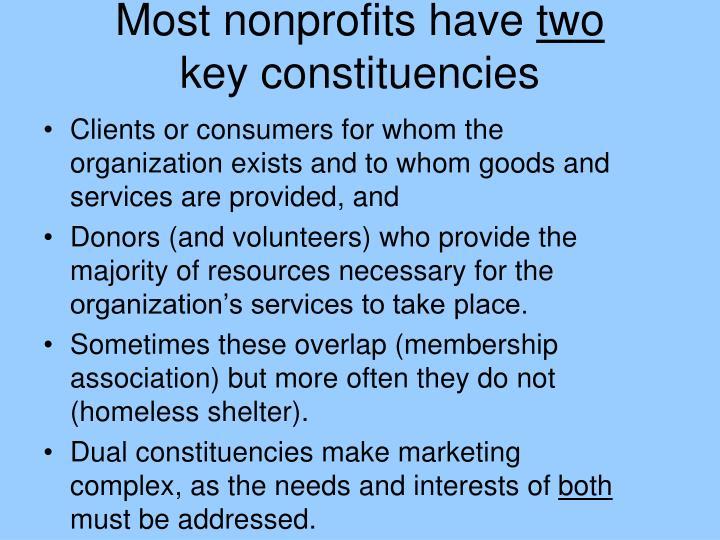 Most nonprofits have two key constituencies