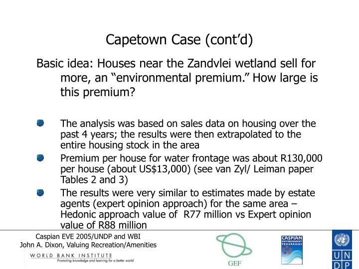 Capetown Case (cont'd)