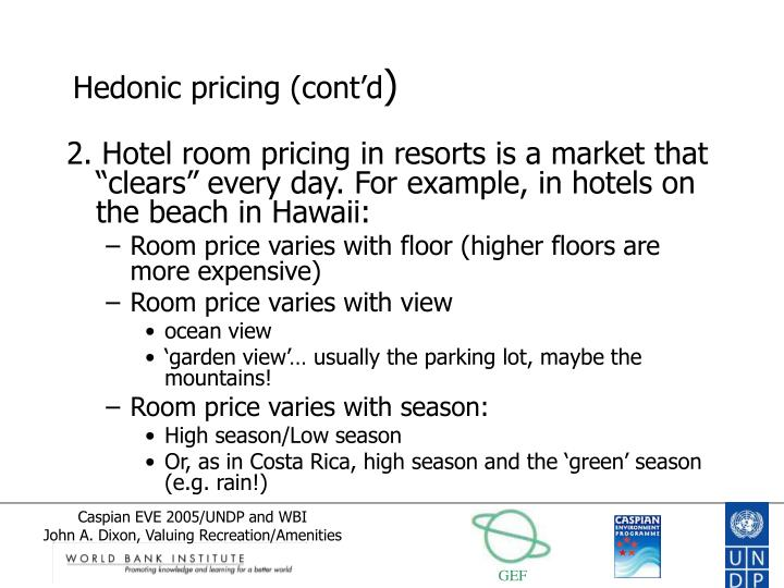Hedonic pricing (cont'd