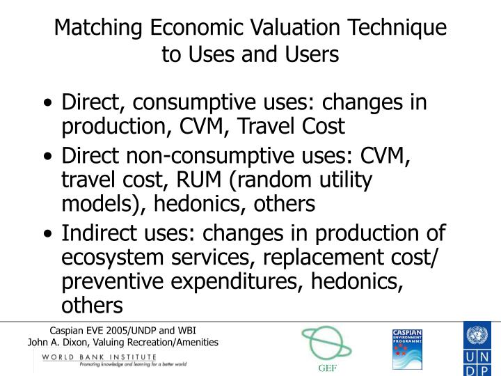 Matching Economic Valuation Technique to Uses and Users