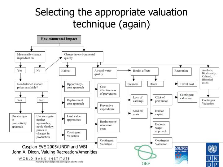Selecting the appropriate valuation technique again