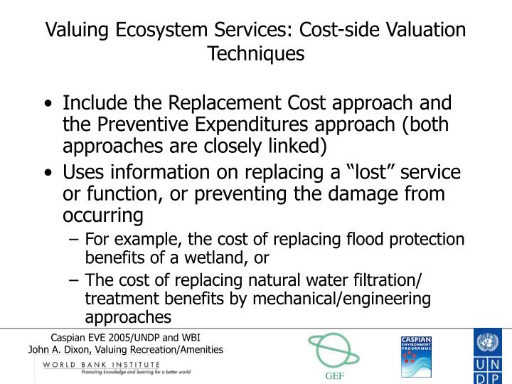 Valuing Ecosystem Services: Cost-side Valuation Techniques