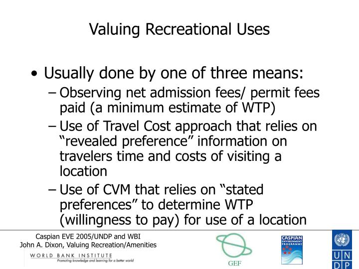 Valuing Recreational Uses