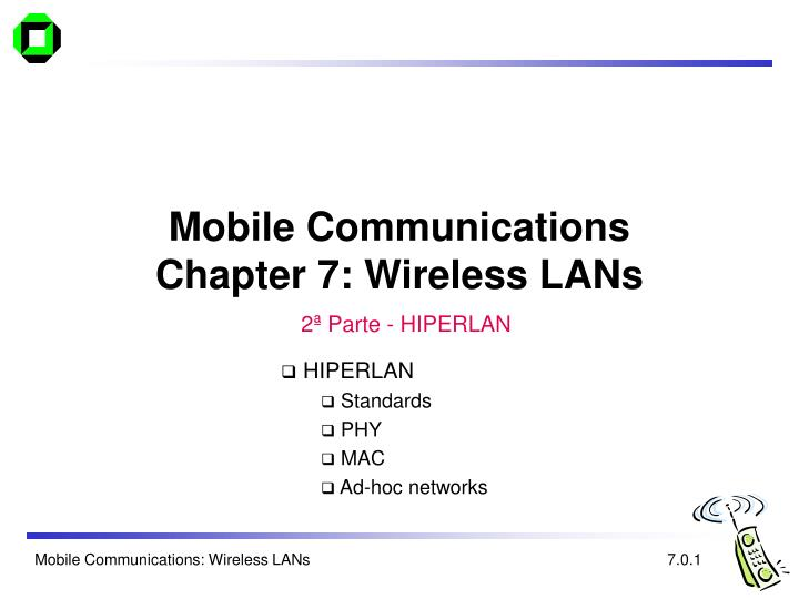 mobile communications chapter 7 wireless lans n.