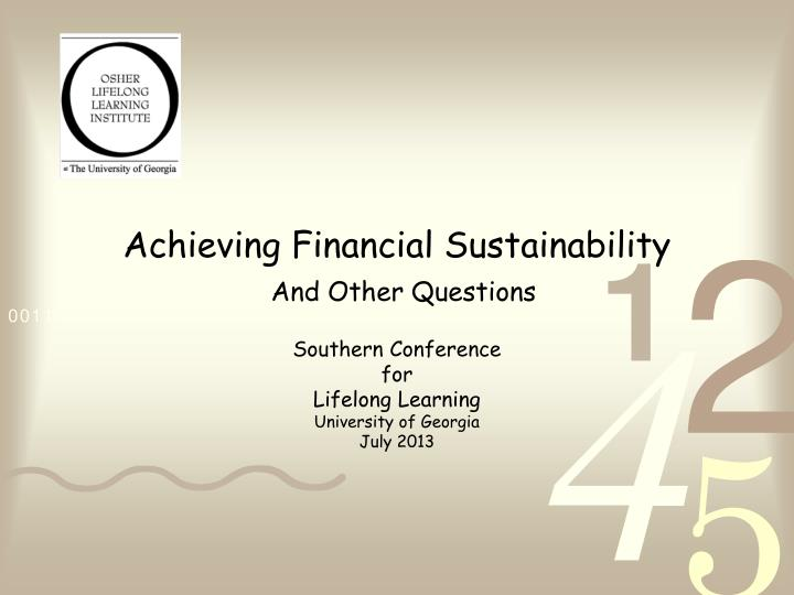 achieving financial sustainability n.