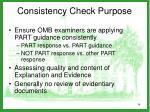 consistency check purpose