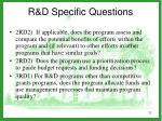 r d specific questions