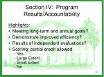 section iv program results accountability