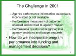 the challenge in 2001