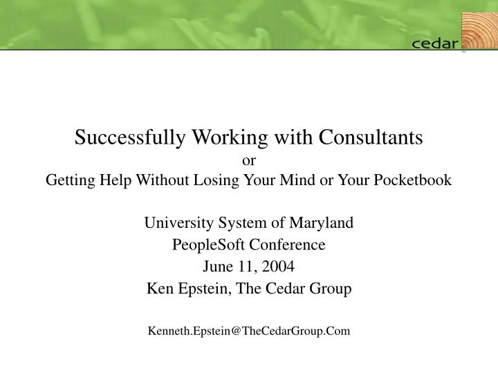 successfully working with consultants or getting help without losing your mind or your pocketbook n.