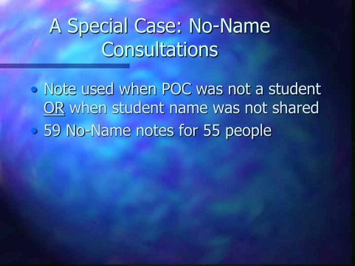 A Special Case: No-Name Consultations