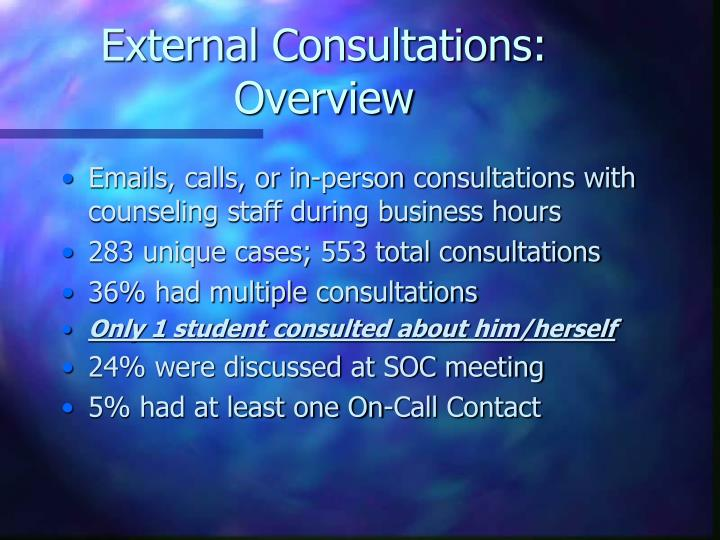 External Consultations: Overview