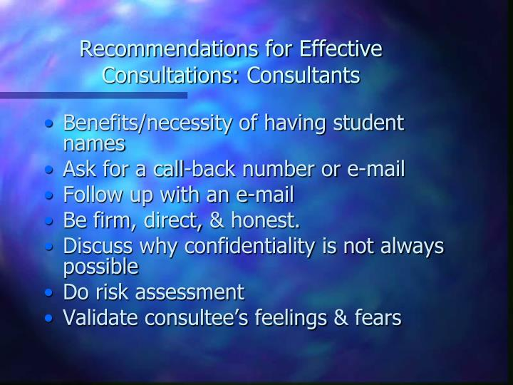 Recommendations for Effective
