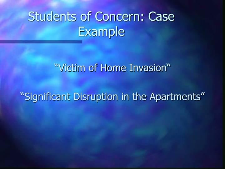 Students of Concern: Case Example