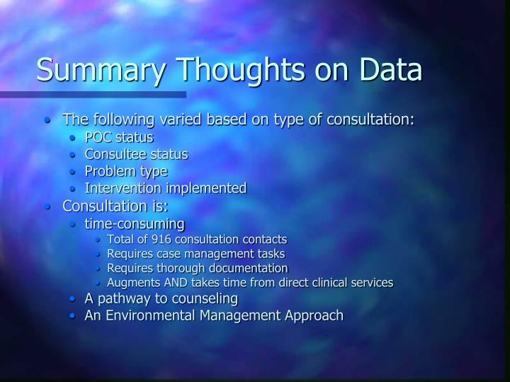 Summary Thoughts on Data