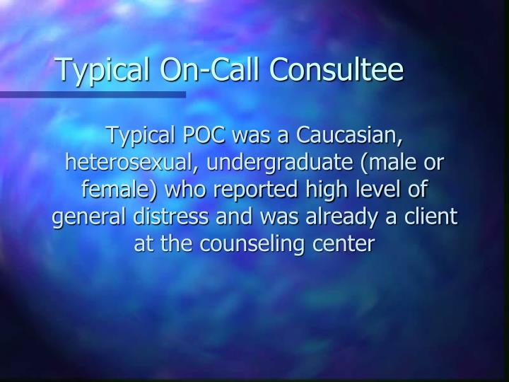 Typical On-Call Consultee