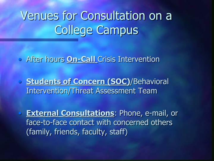 Venues for Consultation on a College Campus